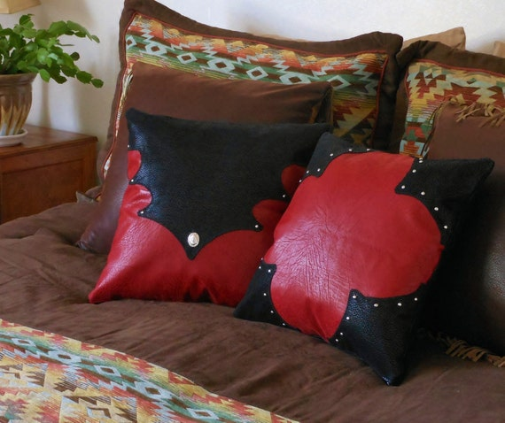 Western Pillow Set- Distressed red and black leather, southwestern, cowboy, cowgirl, ranch