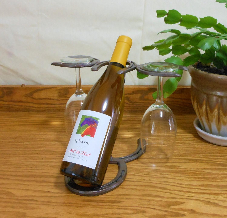 Horseshoe Wine Bottle Holder wine glass holder by LizzyandMe