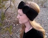 Bow Ear Warmer Headband - Black