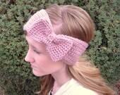 Bow Ear Warmer Headband - Victorian Pink