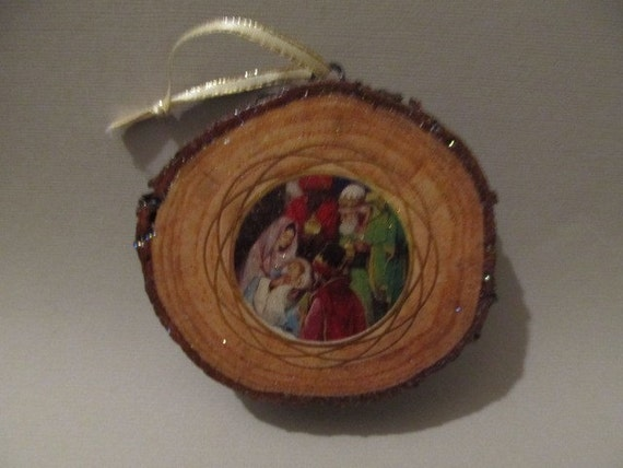 Handmade decoupaged rustic wood christmas ornament wall plaque