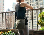 Mini Crossbody Messenger Bag in Khaki with Detachable Strap