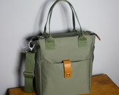 City Messenger Bag /Magazine Bag /Crossbody Bag in Olive Khaki Canvas with Detachable Strap