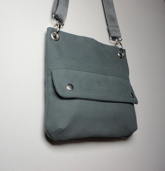 Mini Crossbody Messenger Bag in Gray Twill with Detachable Strap and Front pocket/ New York
