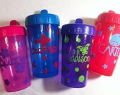 Personalized Spill Proof Sippy Cups - Set of 4 - 1 PINK, 3 PURPLE