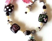 "B119 Sugar Skull ""Penelope"" Lampwork Glass Bracelet with Mother of Pearl Beads and Great Glass Beads"
