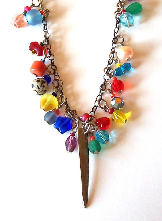 Confetti Necklace with Vintage and New Glass Beads