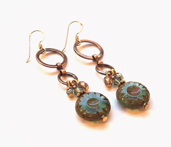 Sea Goddess Earrings with Ocean Blue Czech Wheel beads and Copper Links