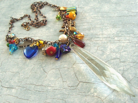 SALE Upcycled Vintage Glass Chandelier Necklace with New and Vintage Beads and Charms Boho Gypsy Long Necklace