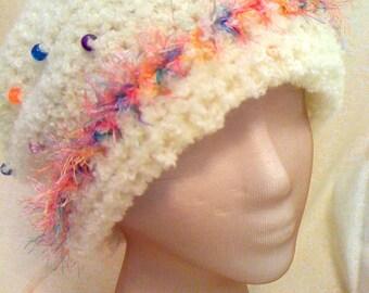 White Crochet Hat w/ Beads