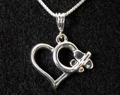 Aviation Sterling Silver Jewelry Low Wing Heart Necklace
