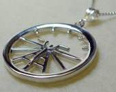 Aviation Attitude Indicator Large Sterling Silver Necklace Jewelry