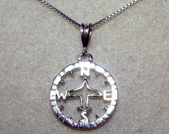Aviation Compass Sterling Silver Necklace
