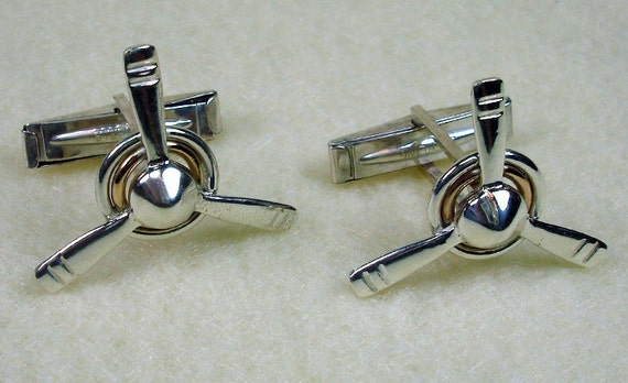 3 Bladed Prop Handmade Sterling Silver Cufflinks and 14kt Gold Filled and Sterling Silver Circle