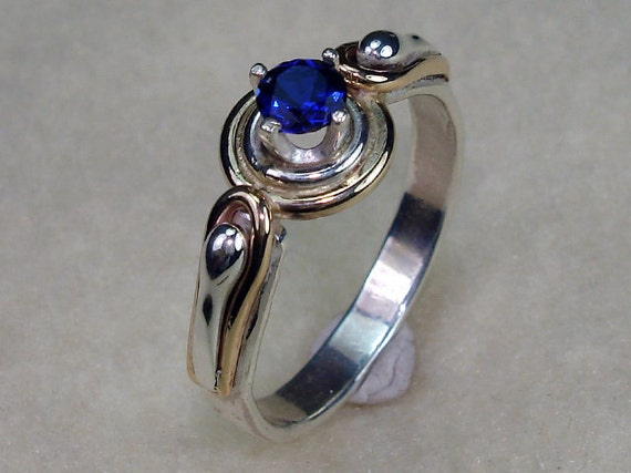 Unique Argentium Silver and 14kt Gold Filled with a 4mm Cubic Zirconia CZ Sapphire Birthstone