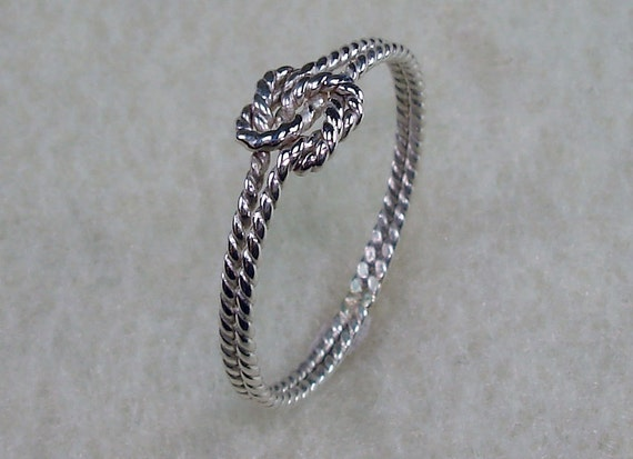 Mini Twisty Celtic Double Love Knot Ring with Argentium Silver