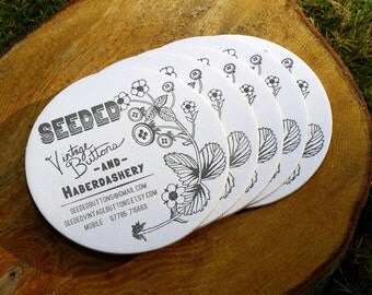 Custom Letterpress Coaster Business Card and Graphic Design Package - 100qty