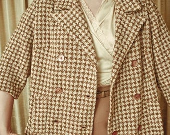 40s/50s Brown Houndstooth 3/4 length jacket