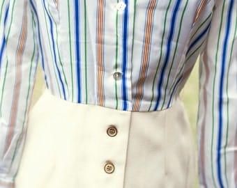 70s Secretary Striped Picnic Day Dress