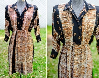 Black and Brown Tribal Print Pleated Dress
