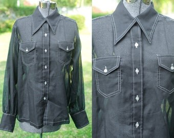 SALE Sheer Black Button Up Grunge Blouse with Front Pockets