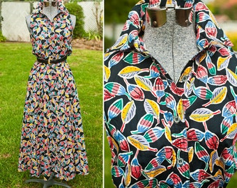 80s Colorful Fiesta Print Button Up Maxi Dress