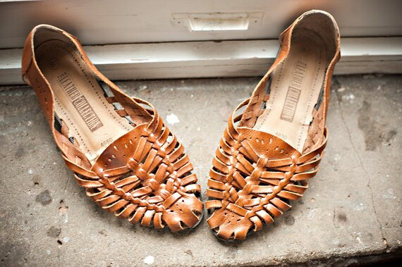 Brown Leather Woven Huarache Sandals US 8.5