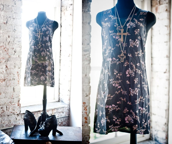 90s Grunge GAP Floral My So-Called Life Shift Dress S