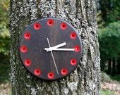 Solid Wood Wall Clock in Ebonized Oak