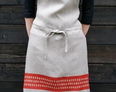 Printed Linen Apron in red or turquoise CAVE pattern