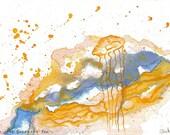Under the Grenache Sea - Original Wine Watercolor - Grenache - 4x6.5 inches