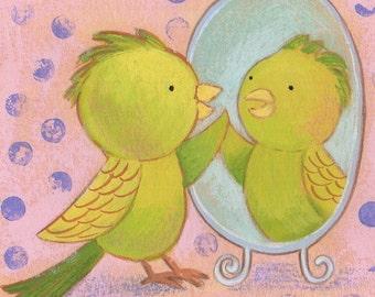 Budgie in Mirror Print 5x7 by Megumi Lemons