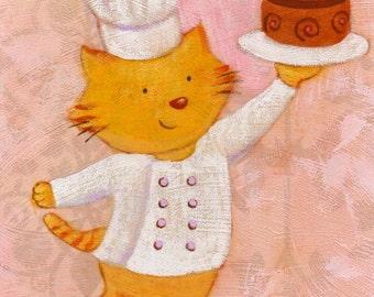 Chef Kitty Print 8x10 by Megumi Lemons