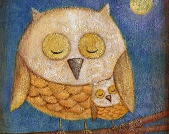 Sleeping Owls Print 8x10 by Megumi Lemons