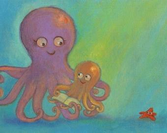 Octopi Reading Print 8x10 by Megumi Lemons