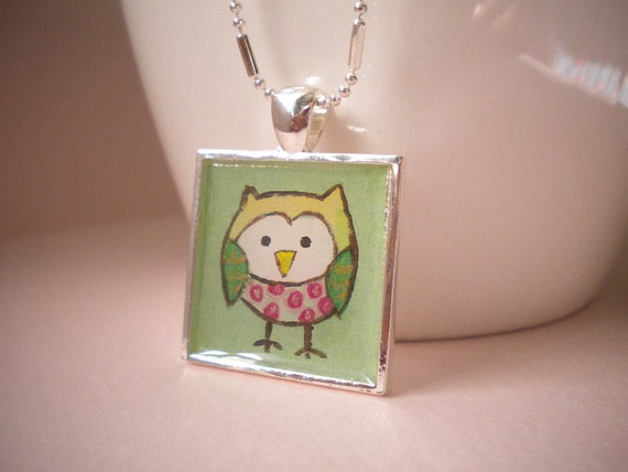 Mint Green Owl Square Necklace