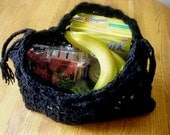 REDUCED - Eco-Friendly Very STRONG and STRETCHY Crocheted Grocery Tote - Craft Tote - Airline Carry On - Toy Tote - Yarn Tote - Basic Black