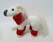 Plush Valentine's Day Horse with Cowl/Blanket and Legwarmers - a 5-piece accessory set - Play Jewelry for a Little Girl
