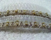 Beaded Hair Combs - Khaki and Gold - One Pair
