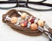 UNISEX EYEGLASS CHAIN -Leather Strap, w Wood Beads