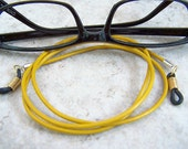 Mens, Women Eyeglass Chain, Unisex Leather Eyeglass Holder , Mustard Yellow, by Eyewearglamour on Etsy