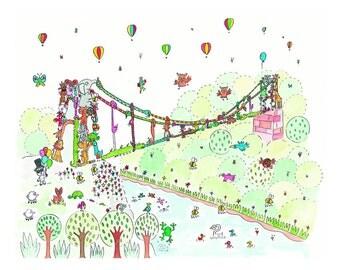 nursery art, colourful animal print, suspension bridge, Bristol landmark, wall art