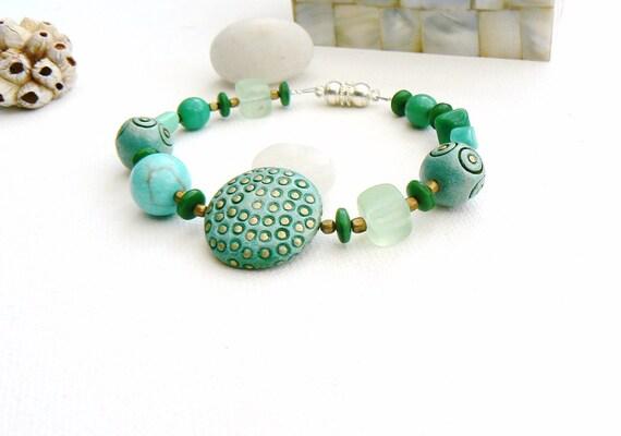 Turquoise and Ceramic Beads Bracelet,Handmade Green and Turquoise Bracelet,OOAK