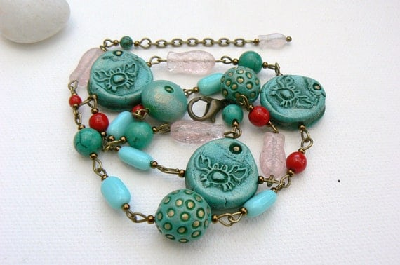 Handmade Ceramic Turquoise and Czech Glass Beads Necklace,OOAK
