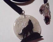 Moonlight Wolf Bookmark - Black Velvet Ribbon - Feathers - Mystical - Moon - Cupid and Psyche