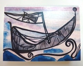 6 Original Fine Art Blank Greeting Cards by Polly Bell - Celtic Boat