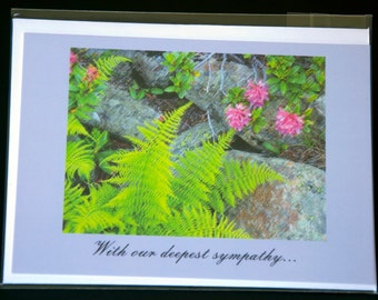 """Ferns and roses, photo notecard, 4.25""""x5.5"""", Text: """"With our deepest sympathy..."""""""