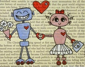 Euroweek SALE - Original Art Illustration on Upcycled Vintage Paper - I Love You, Robot