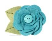 Turquoise Flower hair clip pin or brooch felt Fashion