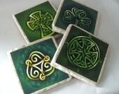 Celtic Symbols Natural Tumbled Stone Coasters Set of 4 - READY TO Ship - 25% OFF Regular Price
